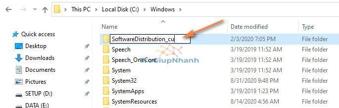 Đổi tên thư mục Software Distribution