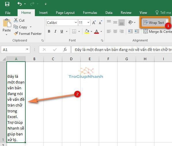 tràn chữ trong Excel