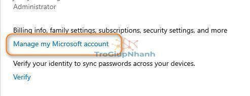 Thay đổi mật khẩu Windows 10