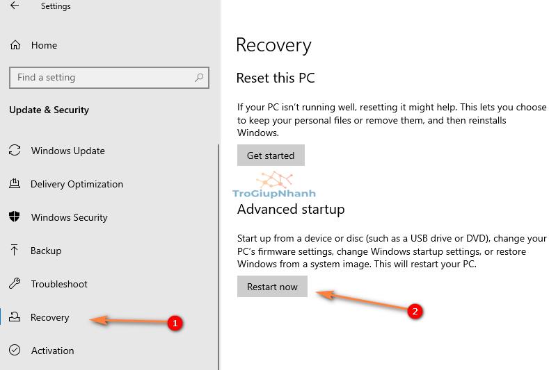 Truy cập môi trường nâng cao Windows 10