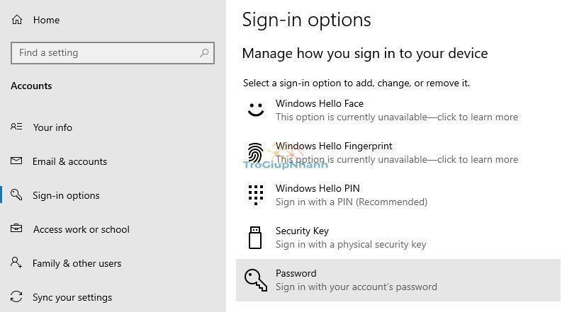 Mật khẩu Windows 10