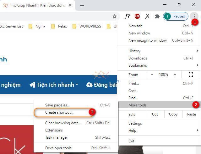 Tạo shortcut trang web cho Windows
