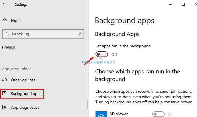 ứng dụng chạy nền windows 10