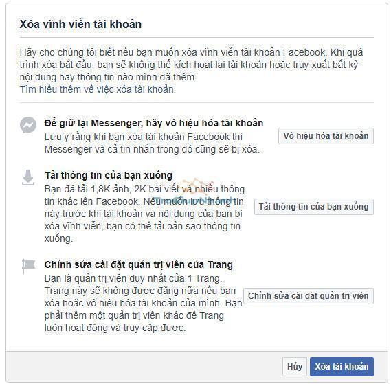 Cách xóa nick facebook