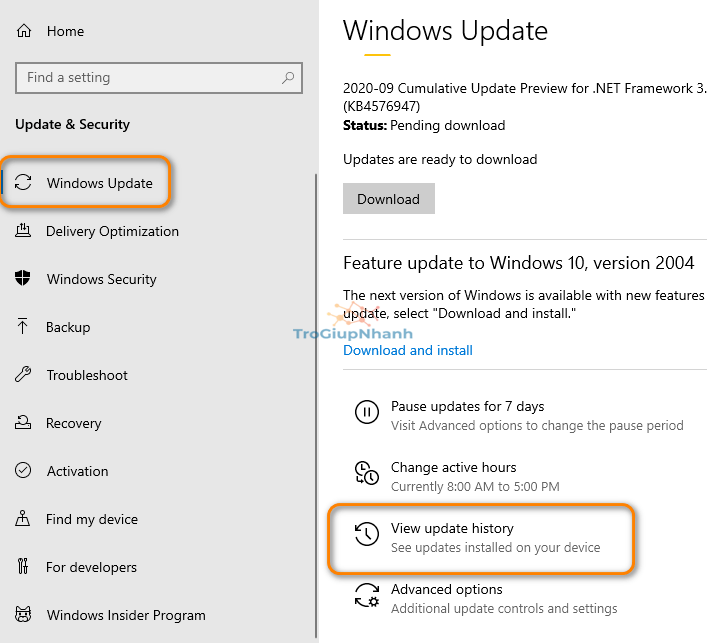 Gỡ gói update Windows 10