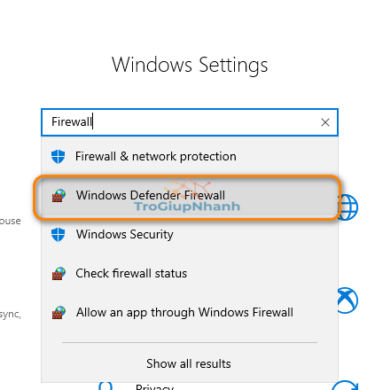 mở windows firewall