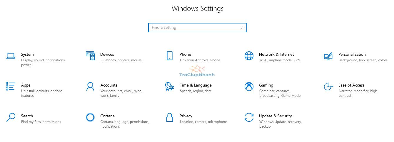 mở cài đặt windows 10