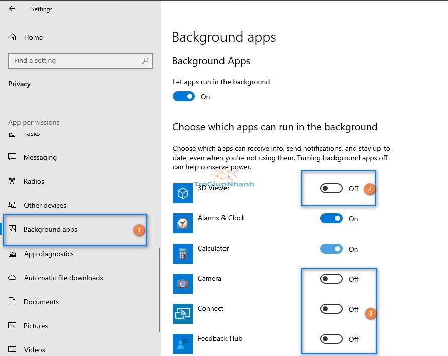tắt ứng dụng không cần thiết windows 10