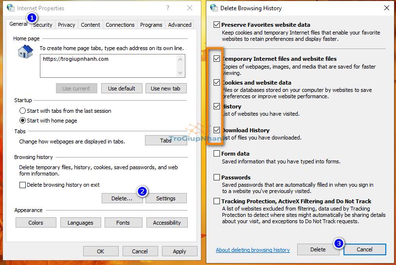 Xoá bộ nhớ cache trình duyệt