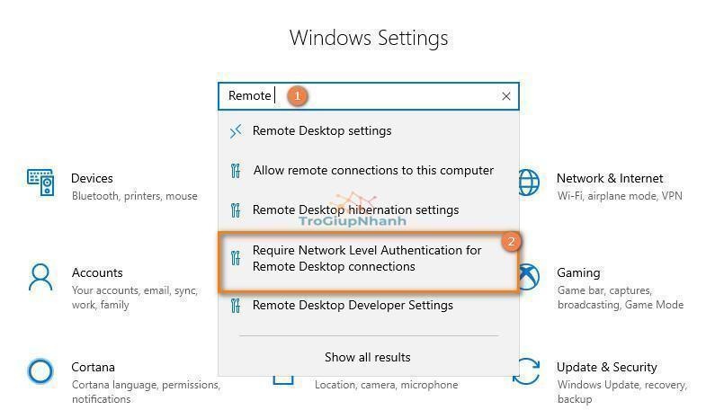 Lỗi không remote desktop được