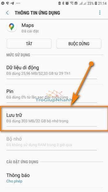 lưu trữ ứng dụng android