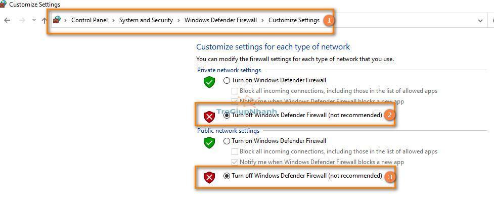 tắt firewall