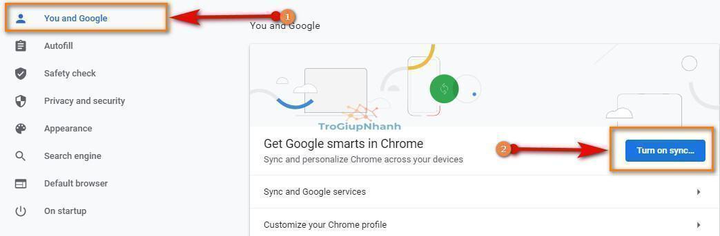 đồng bộ tài khoản google chrome