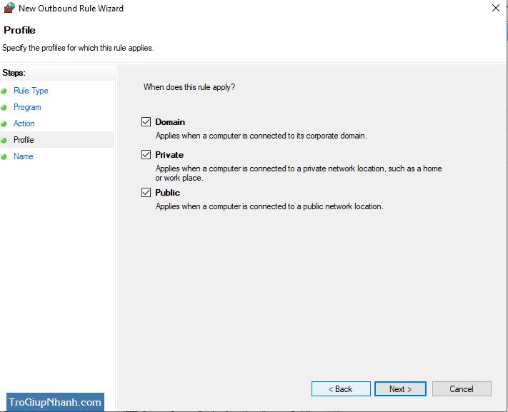 chặn kết nối internet của phần mềm