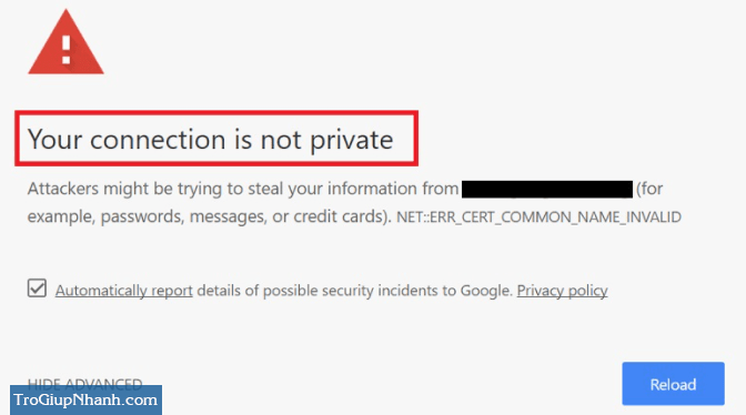 lỗi Connection is Not Private